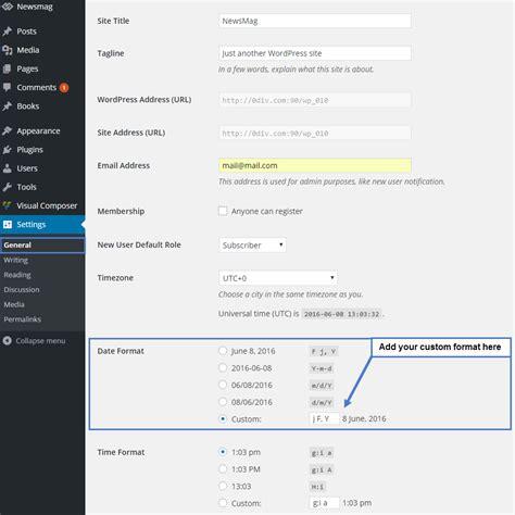 format date php wordpress newsmag documentation use custom date format