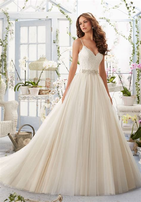 Alencon Lace Bodice with Satin Shoulder Straps on Soft Net Morilee Bridal Wedding Dress   Style