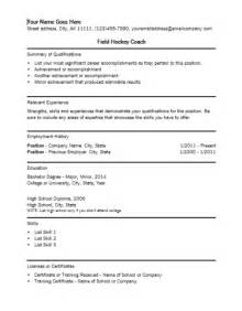 field hockey coach resume template