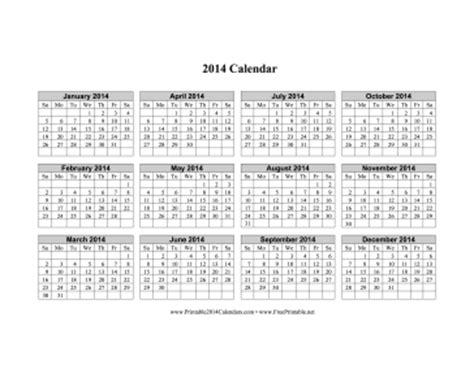 printable calendars horizontal printable 2014 calendar horizontal grid descending