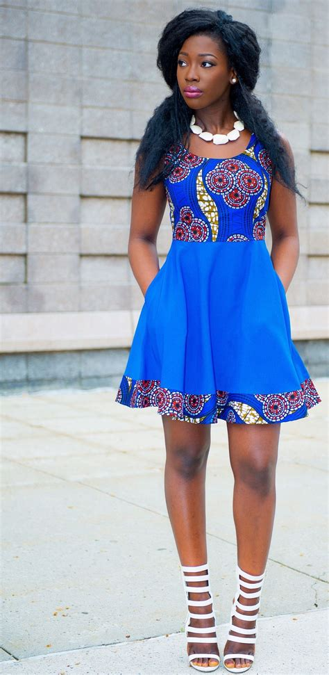 nigerian kitenge fashion ankara print spring dress blue african fashion ankara