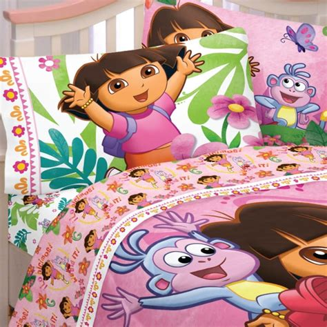 dora bed dora explorer run skip jump full double bed sheets set