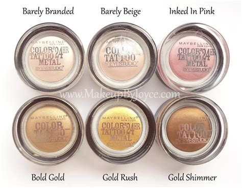 maybelline color tattoo cream eyeshadow review makeupbyjoyce review swatches maybelline color