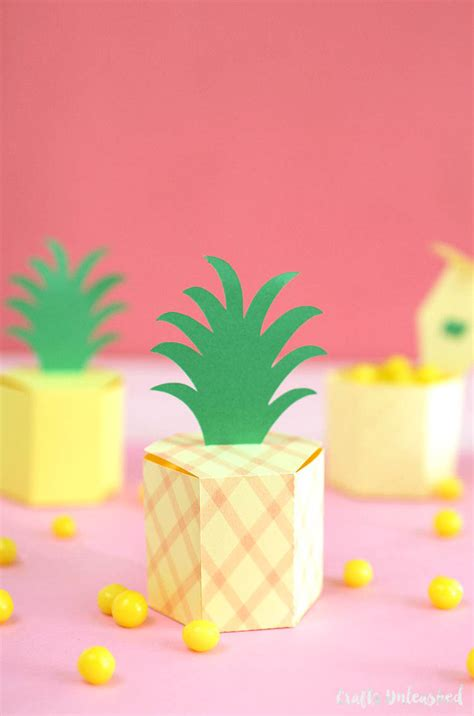 pineapple paper craft gift box template diy pineapple treat boxes consumer crafts