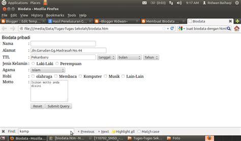cara membuat web html dengan notepad lengkap cara membuat biodata dengan html blogger ridwan