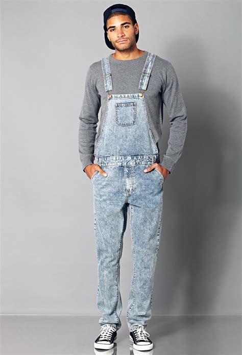 light blue overalls mens lyst forever 21 denim overalls in blue for