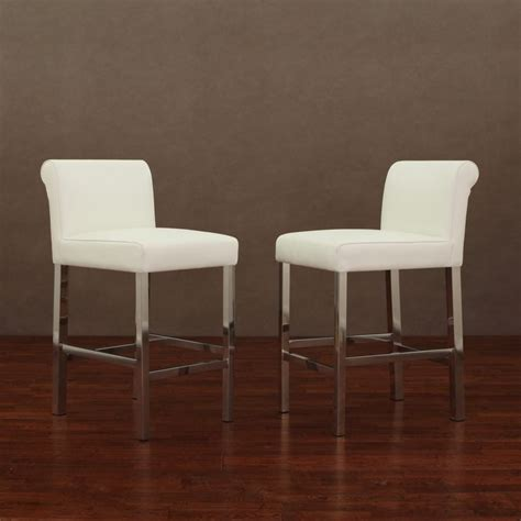 Cosmopolitan Leather Counter Stools by Cosmopolitan Stainless Steel White Snake Leather Counter