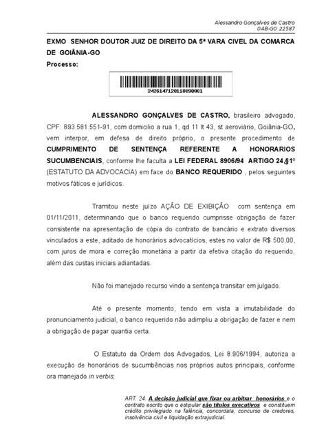 CUMPRIMENTO DE SENTENÇA HONORARIOS - EXIBIÇÃO MODELO