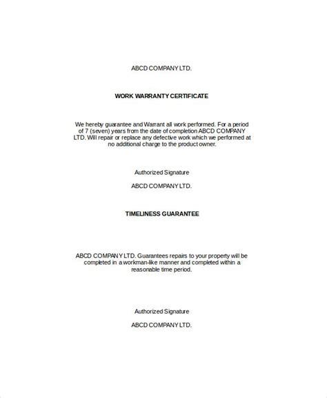 warranty certificate templates certificate templates