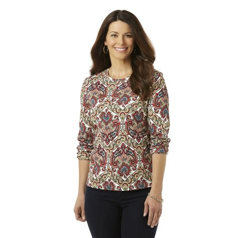 Does Kmart Take Sears Gift Cards - laura scott petite s long sleeve t shirt paisley sears