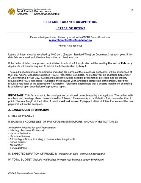 Nsf Letter Of Intent Format Letter Of Support For Research Grant Sle Cover Letter