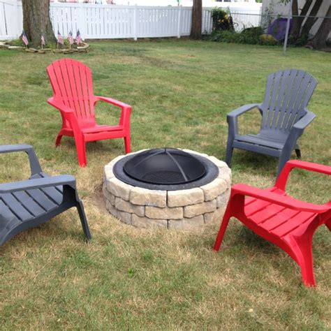 Stone Fire Pit Love The Adirondack Chairs The Great Firepit Chairs