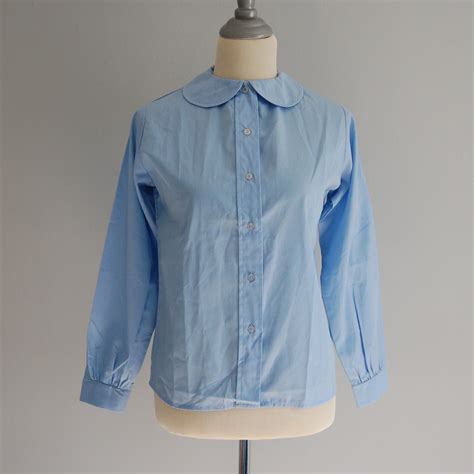 vintage baby blue pan collar blouse by adriancompany on etsy
