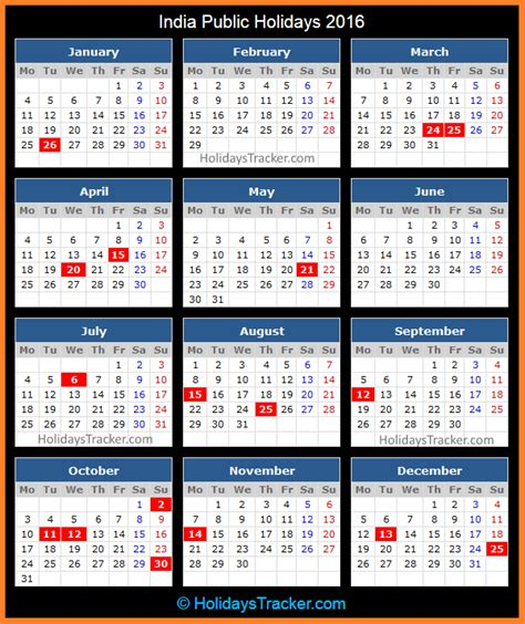 printable monthly calendar 2016 with indian holidays india public holidays 2016 holidays tracker