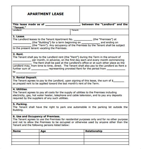 apartment rental agreement template sle apartment rental agreement template 7 free