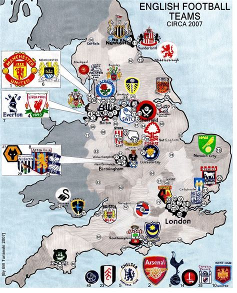 map uk football clubs 109 best football premier league images on