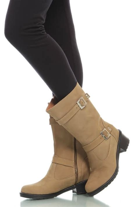 Sepatu Boot Musim Salju sepatu boots kulit khaki genuine suede boots