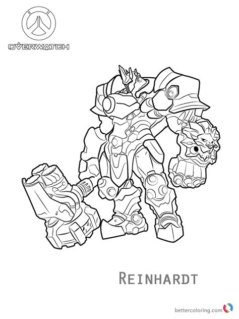 libro overwatch coloring book reinhardt from overwatch coloring pages free printable