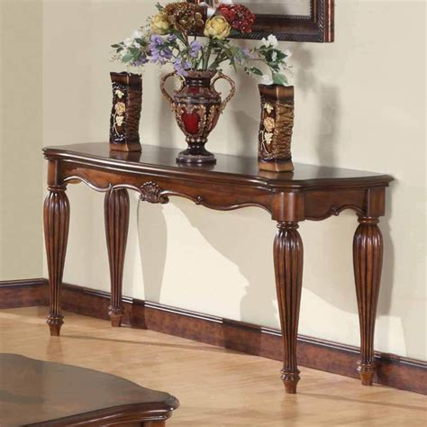 Living Room Console Tables Dreena Occasional Living Room Entry Console Sofa Table Carved Wood In Cherry Ebay