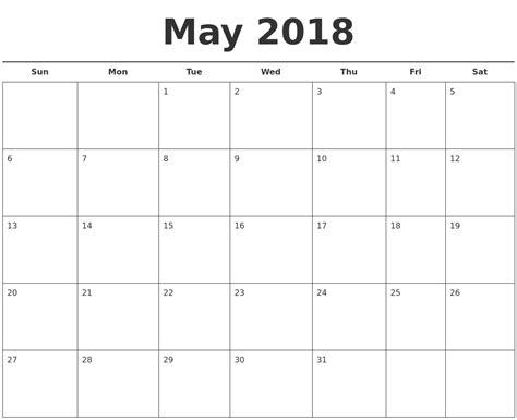 free calendar template may 2018 may 2018 free calendar template