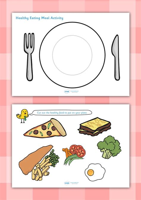 Healthy Food Worksheets by Twinkl Resources Gt Gt Healthy Meal Activity