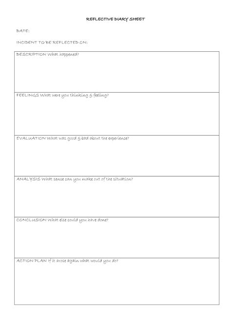Reflective Journal Template Eval Ideas Reflective