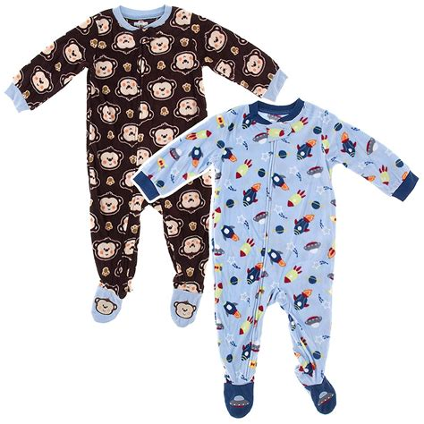 Footed Sleepers by Blue Rocket Brown Monkey 2 Pack Toddler Footed Pajamas