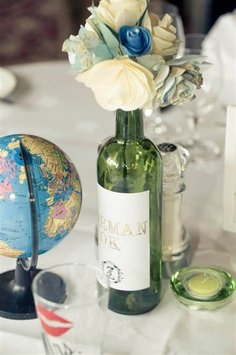 wedding travel centerpiece travel table wine bottle centerpiece wedding globe travel themed