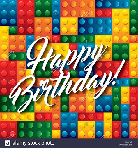 happy birthday lego design lego pieces icon happy birthday design vector graphic