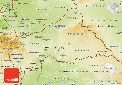 physical map of republic zentralafrikanische republik geographischen karte