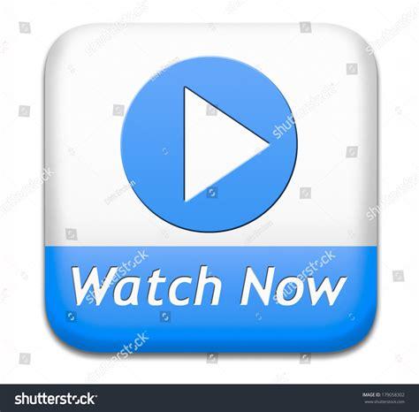 shutter watch online watch video blue white button play stock illustration