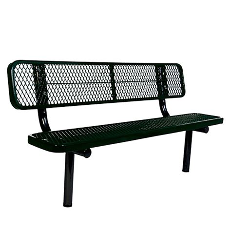 commercial outdoor bench ultra play 6 ft diamond green in ground commercial park