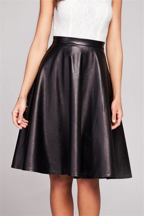 black leather flared knee length skirt