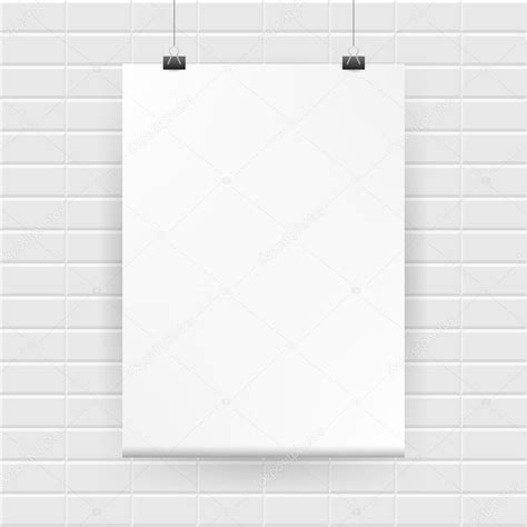 hanging poster stock illustration image 55507025 blank white poster hanging on brick wall vector stock