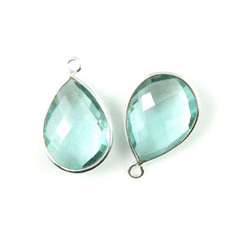 wholesale sterling silver teardrop bezel aqua quartz