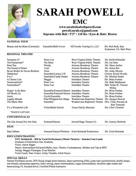 musical theater resume template headshot resume elizabeth powell