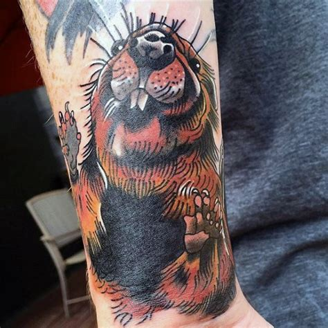 beaver tattoo 40 beaver designs for semi aquatic rodent ink