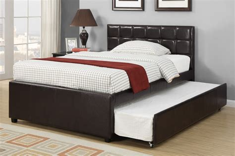 bed with trundle poundex bed trundle faux leather f9215t