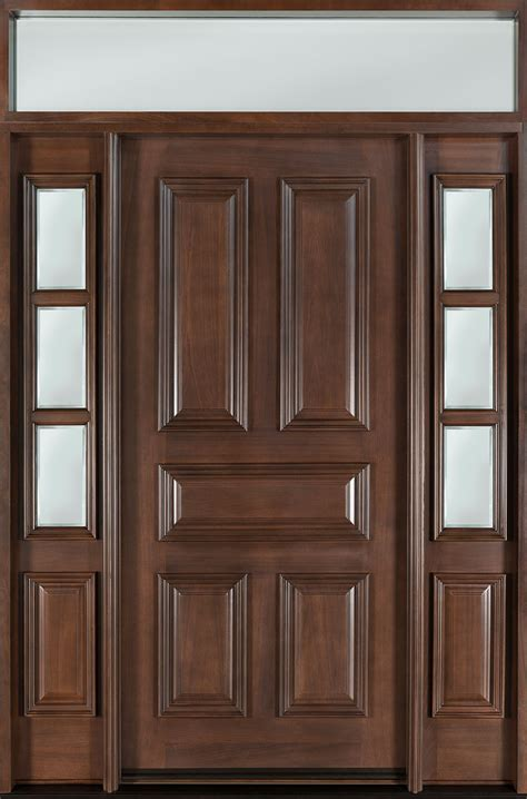 Exterior Door With Transom Front Door Custom Single With 2 Sidelites W Transom Solid Wood With Walnut Finish Classic