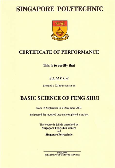 certificate of performance template singapore feng shui centre articles certificate of