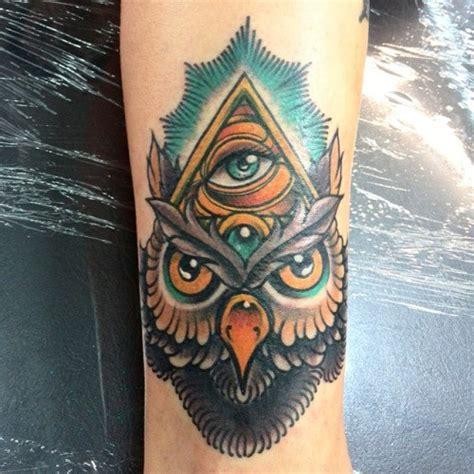 tattoo eye new school new school style colored tattoo of mystical owl with