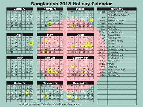 Calendar 2018 Holidays In Bangladesh Bangladesh 2018 2019 Calendar