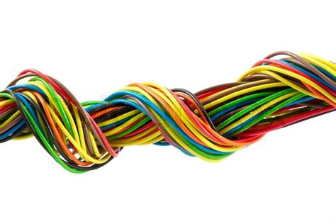 coloured electrical wiring color wires isolated on white background stock photo