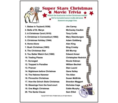printable christmas film quiz 6 best images of printable movie trivia questions