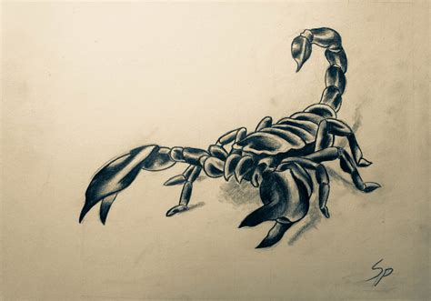 scorpion tattoo design for a friend by naughtyowlking on