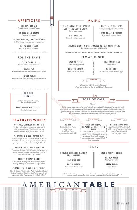 Table Menu by Carnival Liberty American Table Menu Miami