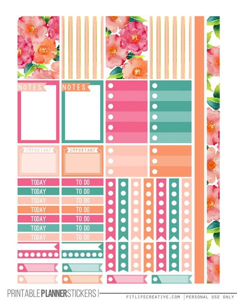 happy planner free printable stickers watercolor flowers happy planner stickers for the the