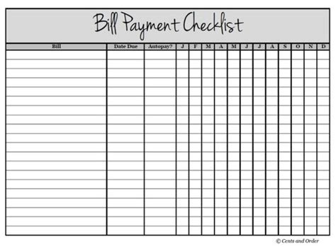 Get Your Finances Organized With A Bill Payment Checklist Pinterest Parties Track And The O Free Bill Payment Checklist Template