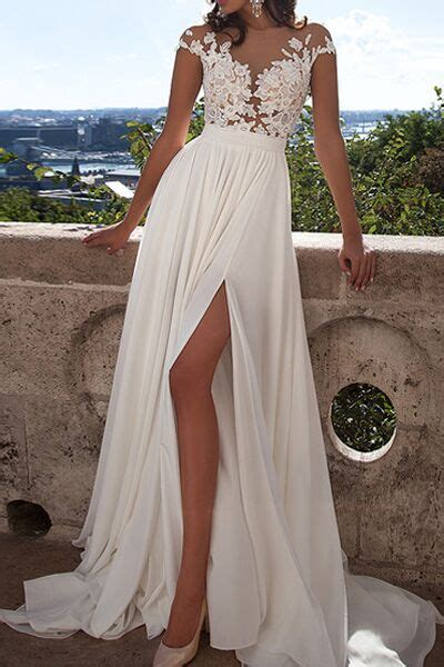 ivory lace beach wedding dresses front slit see through