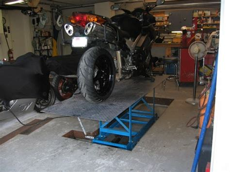 In Ground Garage Lift by Motorcycle Lift Installed In The Garage Floor